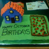 October Birthday Cake  This was for my co-workers this month. WASC cake for base with devils food for the house. Pretzel fence and store-bought pumpkins for...