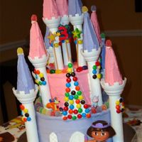 Princess Dora Candy Castle  This is the cake I made for my 3 year old's birthday this past weekend. It is based on the Wilton Candy Castle cake that she picked...