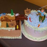 Fisherman Cake This is a fun cake we did for an Avid fisherman, like obsessed fisherman. The fisherman and tent and bridge are plastic things that we...