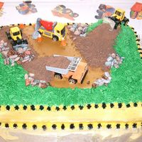 Construction Cake This was the cake for my twin sons' second birthday. Everyone loved it! It was yellow cake with caramel filling. Trucks are toys, dirt...