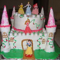 "Princess Castle Cake 2 layer 9x13's, 2 layer 9"" round. Both white cake w/ raspberry buttercream filling, and crusting buttercream on the outside...."