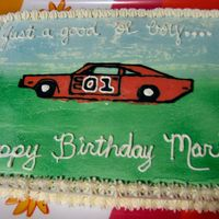 Dukes Of Hazzard Icing is Italian Meringue Buttercream, with a chocolate transfer for the General Lee. This is my first decorated cake attempt....and my...
