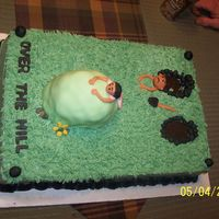 "Over The Hill This was an over the hill cake for a woman turning 40 and a gu turning 50. He is already in the ""grave"" and she is holding on to..."