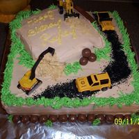Construction Cake This is a construction site themed cake for a three year old boy's birthday.
