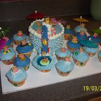 Teddy Bear Waterslide/pool With Cupcakes Another teddy bear waterslide cake. Six inch cake with waterslide landing in a pool of blue jello and cupcakes, each with a little bear in...