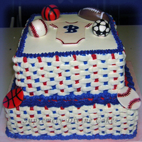 Sports Themed Baby Shower This cake was for a sports themed baby shower. Had nothing to go on except the colors blue and red, and since I have had bad experiences...