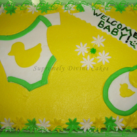 Fondant Onesie And Bib Yellow and green themed baby shower. I might have over done it with the yellow and green just a little, but I think it was cute anyway....