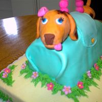 Dog In A Purse This cake was a joint effort with two other co-workers to make a retirement cake for co-workers. The dog was a Weiner dog modeled after the...
