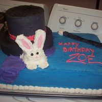 Magic Cake I made this cake for a girls magic birthday. The hat and bunny is all cake!!! The cake must have weighed 30lbs! The wand is a big long...