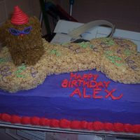 Party Dog This was for a girl's birthday party who wanted a party dog. The bone is rice crispy and the dog is cupcake with frosting. Not the...
