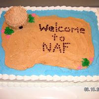Welcome To Naf I spelled out the message so it looked like rocks on the beach of a desert island. This was made for someone throwing a luau party for her...