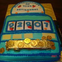 Slot Machine Retirement Cake This is a cake that a customer wanted for their mothers retirement party. She wanted a slot machine cake. The cake is covered with...