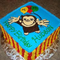 Curious George Birthday Cake Square cake designed after curious george birthday decorations. Matched the napkins perfect...
