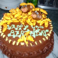 Monkeys And Bananas Chocolate cake with chocolate buttercream. MMF decorations.