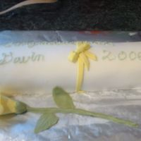 "Diploma Vanilla chiffon cake, with lemon cream cheese filling. Vanilla butter cream covered in MMF with MMF accents and rose. BC writing ""..."