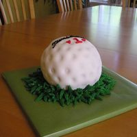"Golf-Themed Groom's Cake I created this cake for a friend's wedding. The script (in black) imitates the Titleist golf ball logo but says ""Timsdabest&quot..."