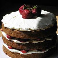 Strawberry Tallcake This is a 3-tiered sweet cream cake with vanilla creme filling and fresh strawberries.
