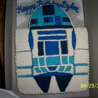 R2D2 For a child's birthday. I cut the end of a sheet cake to make the head and I used the Wilton cake pan instructions to decorate.