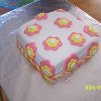 First Fondant Cake This is my first fondant cake. Although it is far from perfect, I was very pleased with it. My first fondant experience was a DISASTER!...
