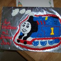 Thomas Thetrain I made this cake for my son because he is a HUGE Thomas fan and I needed to use up some left over icing before it ruined. He helped a...
