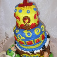 "Toy Story Birthday Cake - Topsy Turvey My Grandson turns one year old on 8/31, so we had his party yesterday. Make an 8"", 6"", 4"" topsy turvey cake for him - my..."