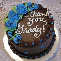 "6"" Thank You Cake... 6"" chocolate cake, chocolate icing"