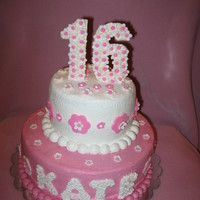 "Sweet 16 For My Granddaughter 10"" round, 6"" round strawberry with fondant accents"