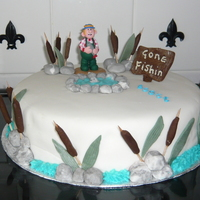 Gone Fishing A vanilla sponge cake with jam and buttercream l, covered in fondant