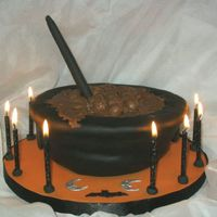 Witches Brew Fondant covered 2 layer sponge with chocolate filling