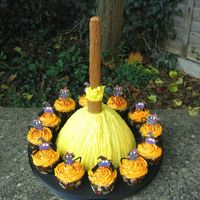 Witches Broom And Cup Cakes My first attempt using the wilton wonder mould tin, a sponge cake with piped buttercream , made to look i hope a little like a broom.