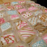 Petit Fours For Baby Shower For Twins Petit fours for a baby shower for twins, a boy and a girl.