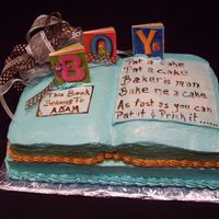 "Book Cake For Baby Boy   WASC with raspberry filling, for a baby boy ""book"" themed shower."