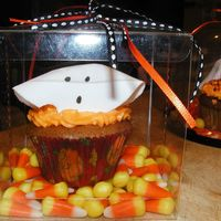 Fondant Ghost Halloween Cupcake I cut out circle of fondant, and draped them on a large marshmallow overnight to dry. Then drew face on with edible marker. Remove from...