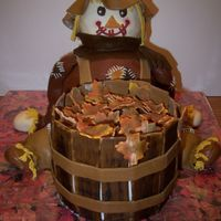 Autumn Leaves Scarecrow Big Thanks To Merissa This is a scarecrow I made thanks to Merissa's amazing design she made for a cake show. I made this for my son's preschool for...