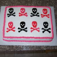 Skull And Crossbone Cake skull and crossbones made out of fondant.