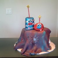 Our 4Th Of July Cake.   And here's the cake for them! ;-)