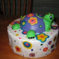 "Hippie Turtle He's for a Turtle-loving friend. First time trying to do Fondant ""Inlays"". He was fun!"