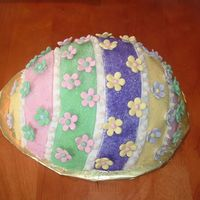 Easter Egg This was my first Easter Cake!! I was fun to make...it felt whimsical :) White chocolate cake covered in Fondant with Fondant decorations...
