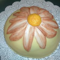 Sunflower/daisy??? I made this little baby cake for my DH boss and his wife. Dh laughed and said it looked like a boob! After looking at the pics...it does...