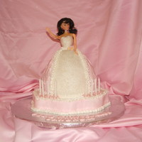 "Pink Princess Cake Pink buttercream princess cake, bodice is fondant with sugar crystals, I added an 8"" round to the bottom of the dress and stacked it..."