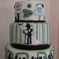 1950S Theme Birthday (Sinatra-Style) I was asked to make a classy 1950s-theme cake (Sinatra-ish, not sock hop). This is what I came up with.