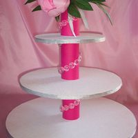 3-Tier Cupcake Stand Designed & made this cupcake stand in my favorite color. Holds 36 cupcakes. Would love to have feedback on this. Thanks