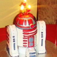 "Red R2D2 my little guy wanted rtd2's red cousin. Had both glowing and blinking lights. 6"" rounds w/ sports ball for top. Fondant accents..."