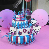 Hello Kitty fondant accents and royal icing kitties