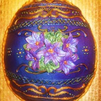 Easter Egg faberge style, royal icing piping, hand painted with luster dusts. buttercream airbrushed, royal icing lillies. (didn't realize that I...