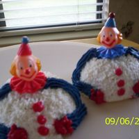 Clown Cupcakes Mini ball pan cupcakes with clown decoration, for a 1 year old boy.