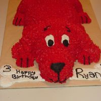 Clifford Cake I made this cake for a 3rd birthday party. The cake was molded from 3 differnt type of cake pans.
