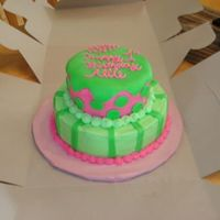 Pink & Green First Birthday   This is a cake made from buttercream & MMF for a little girl's first birthday.