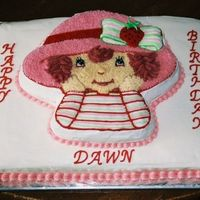 Strawberry Shortcake Made this for my friends birthday.It was my first attempt at a character pan cake.