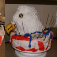 Eagle Birthday Cake American Flag Everything is fondant (the nose is rice krispie treat with fondant), all the colors are painted with gels and clear vanilla, all the '...